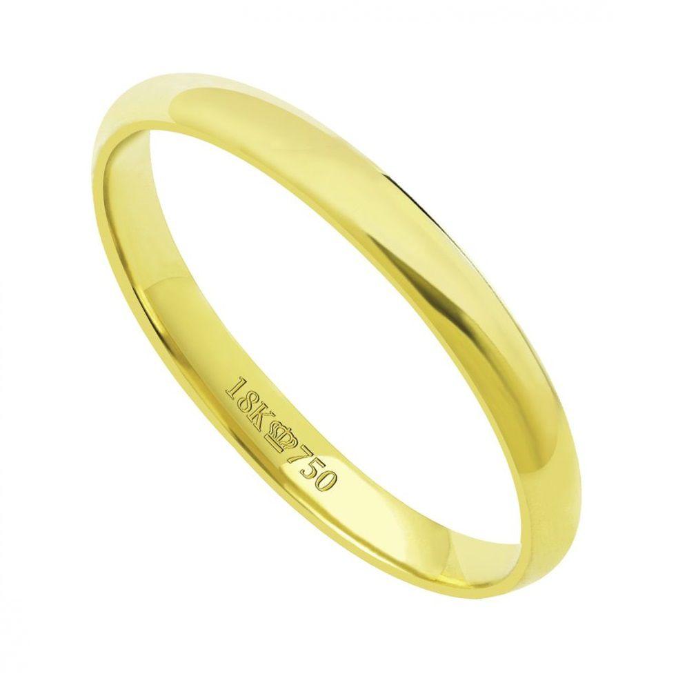 Aliança de Casamento Ouro 18k Lisa Anatômica D25RE