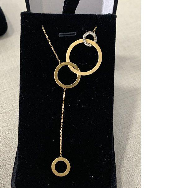 Cordão Gravatinha Ouro 18k Amarelo e Branco 40cm