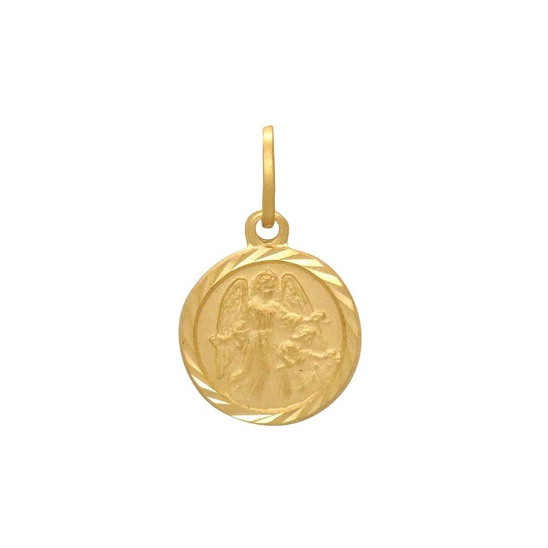 Pingente Ouro 18k Anjo da Guarda Redondo Pequeno