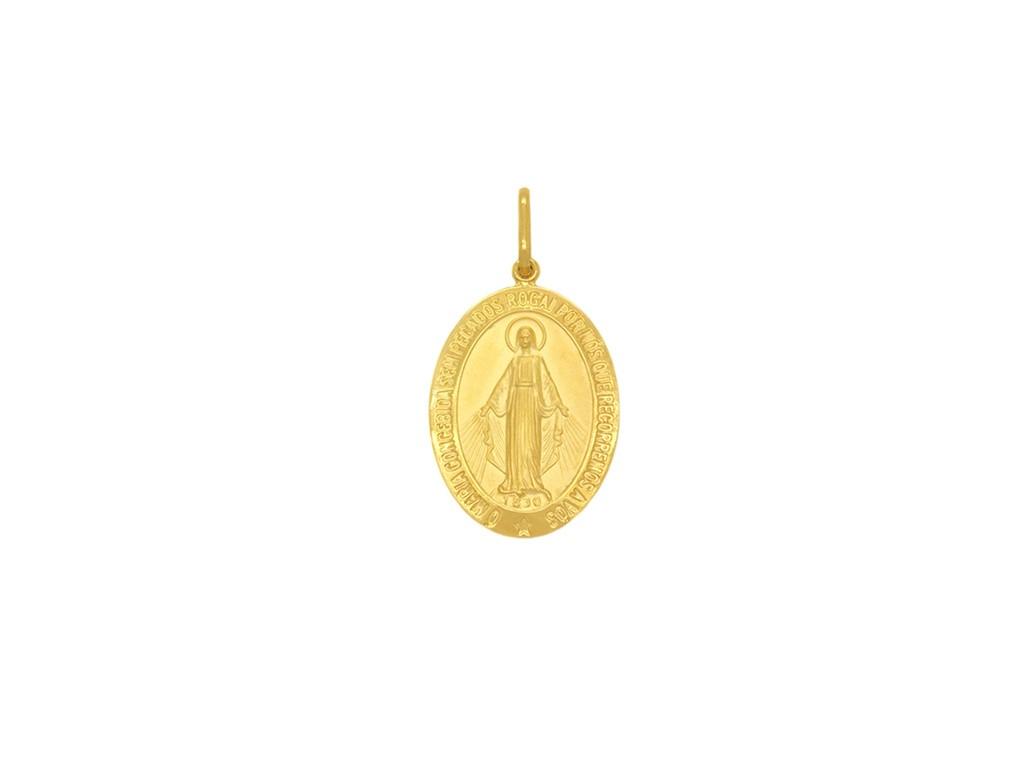 Pingente Ouro 18k Nossa Senhora das Graças Oval Pequeno
