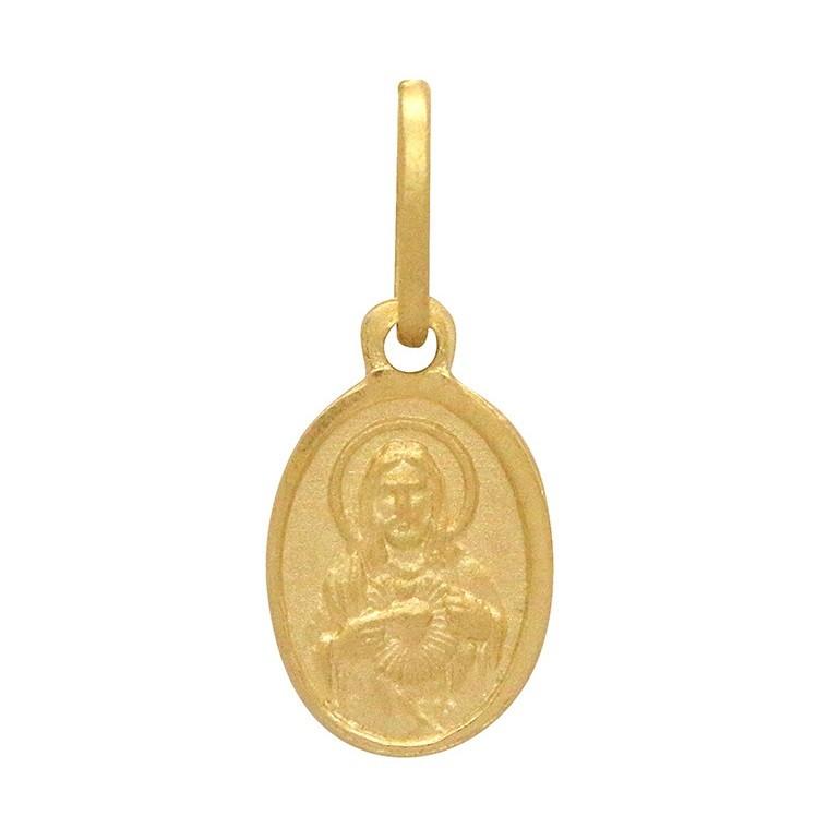 Pingente Ouro 18k Sagrado Coração de Jesus Baby