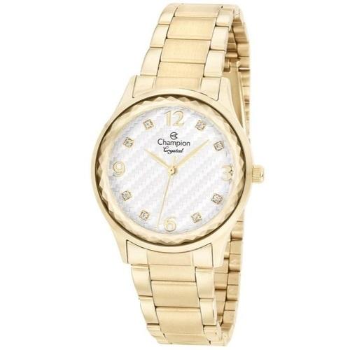 Relógio Champion Crystal CN25583H Quartz Pulseira Aço Dourado