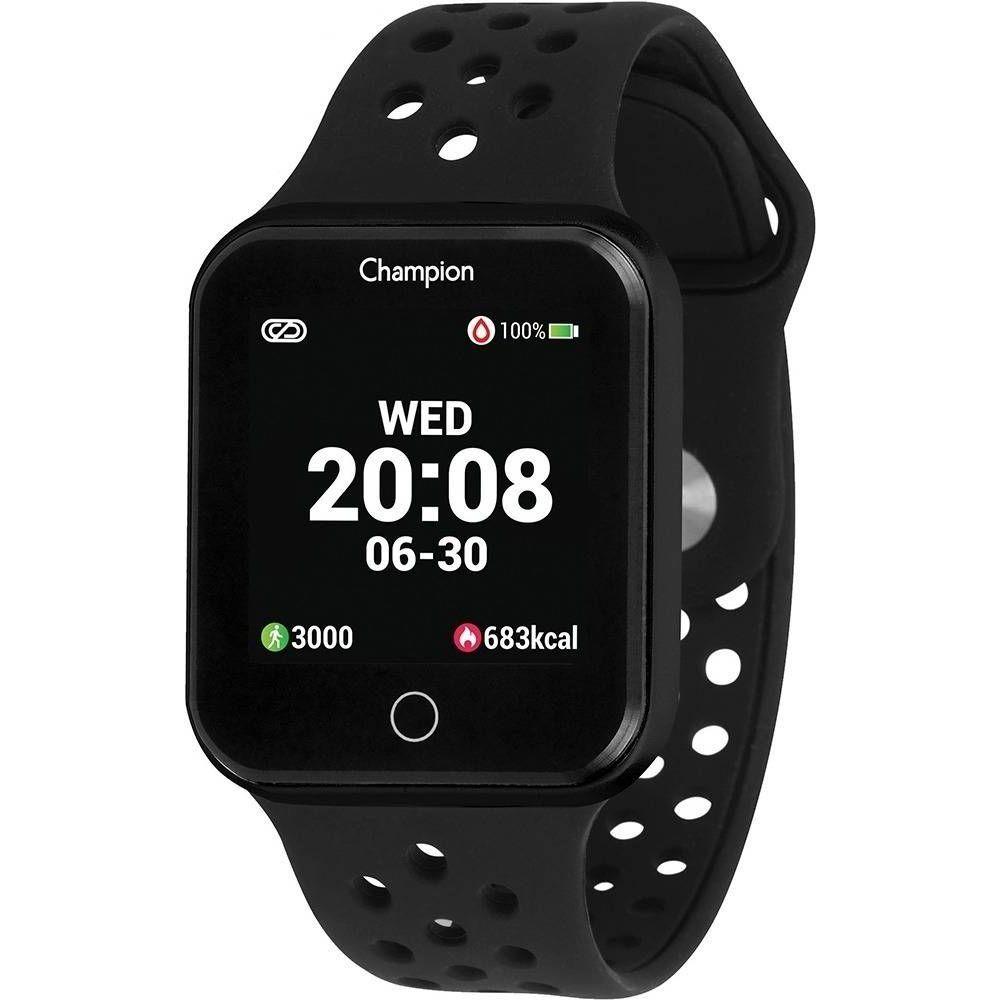 Relógio Champion Smart Bluetooth 4.0 Preto Pulseira Preta CH50006P Smartwatch