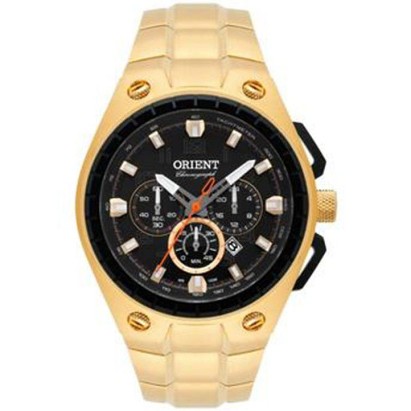 Relogio Orient Masculino Cronógrafo Dourado MGSSC019 P2KX