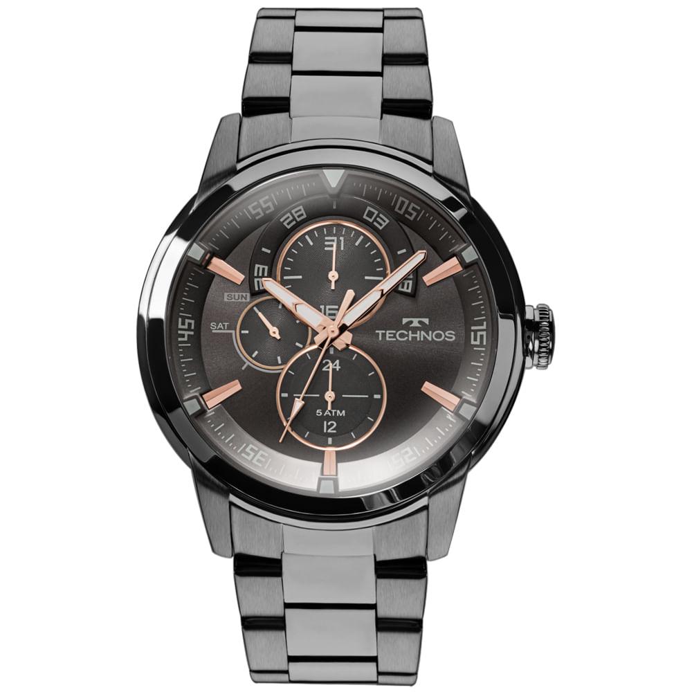 Relógio Technos Masculino Multifunção Preto 6p57ab/4p