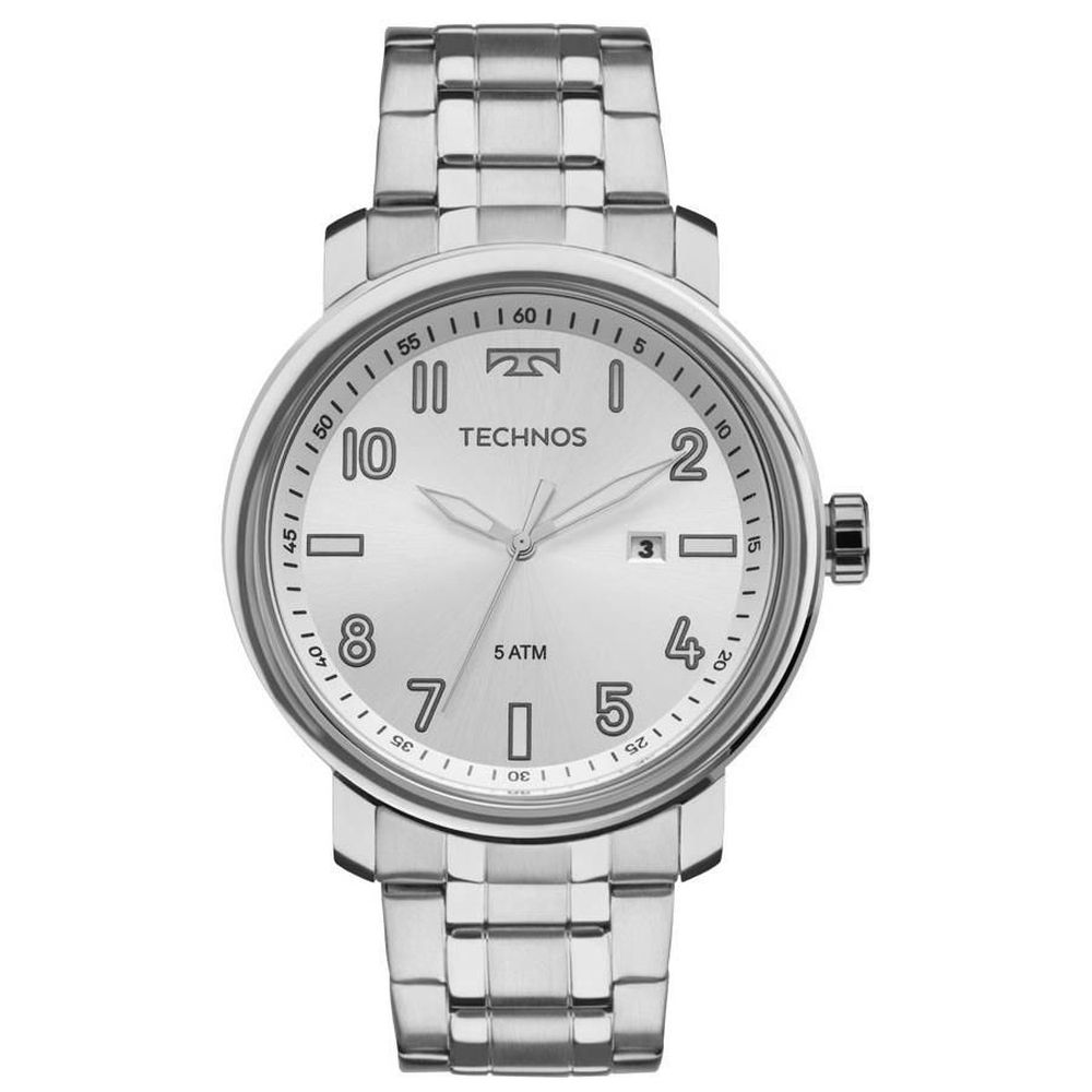 Relógio Technos Masculino Social Prateado 2115mnh/1k