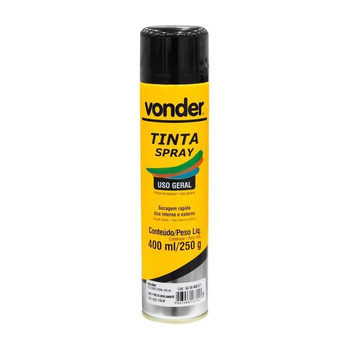 Tinta Spray Preta Brilhante 400ml Vonder