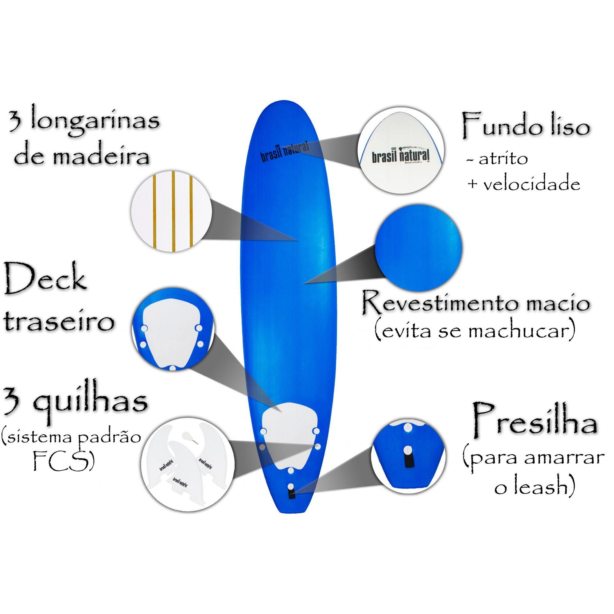 Prancha de surf fun board 7.6 NEW EDITION + kit surf - Brasil Natural