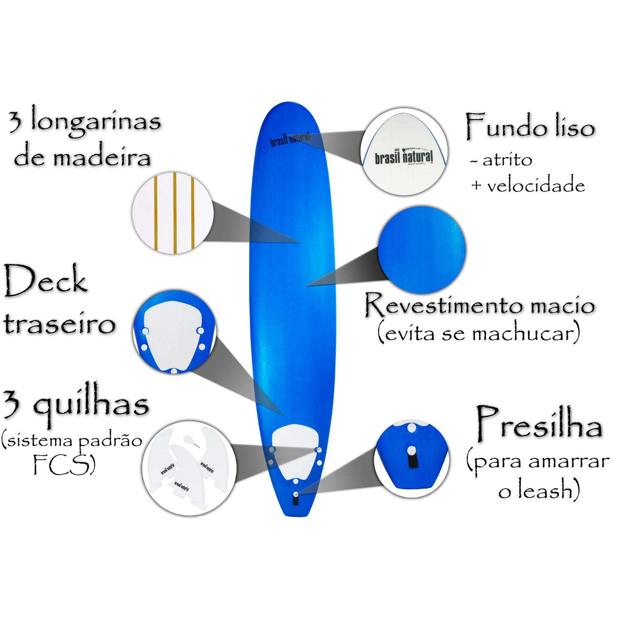 Prancha de surf long board 9.1 NEW EDITION + kit surf - Brasil Natural