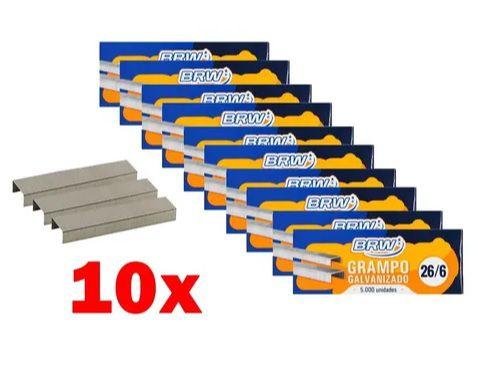 10 Caixa grampo 26/6 com 5000 Unidades cada - BRW