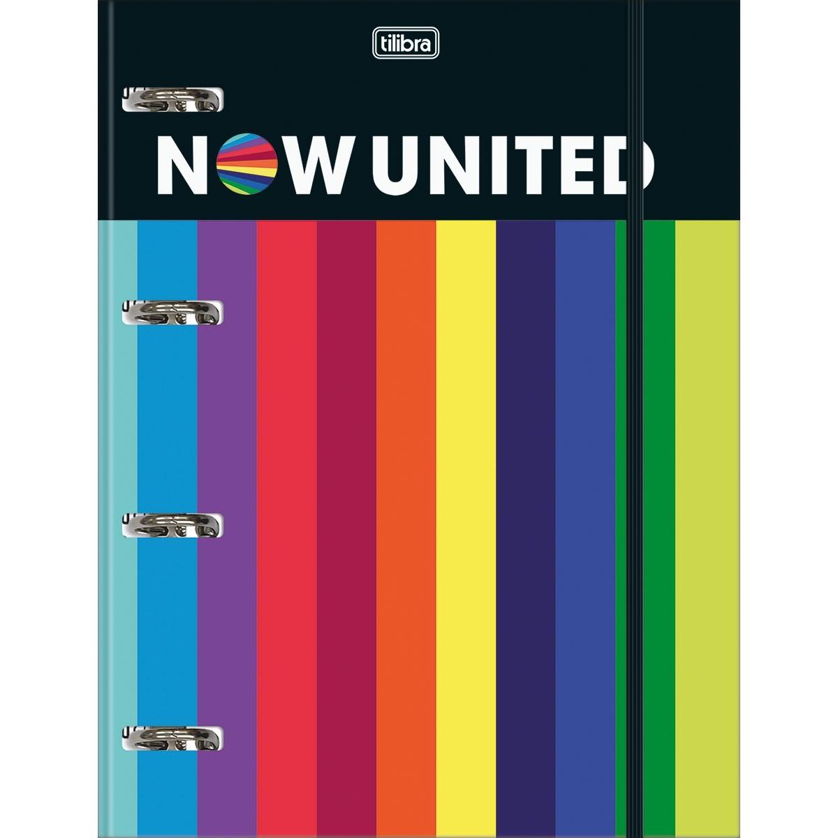 Caderno Argolado Cartonado Universitário com Elástico Now United 80 Folhas