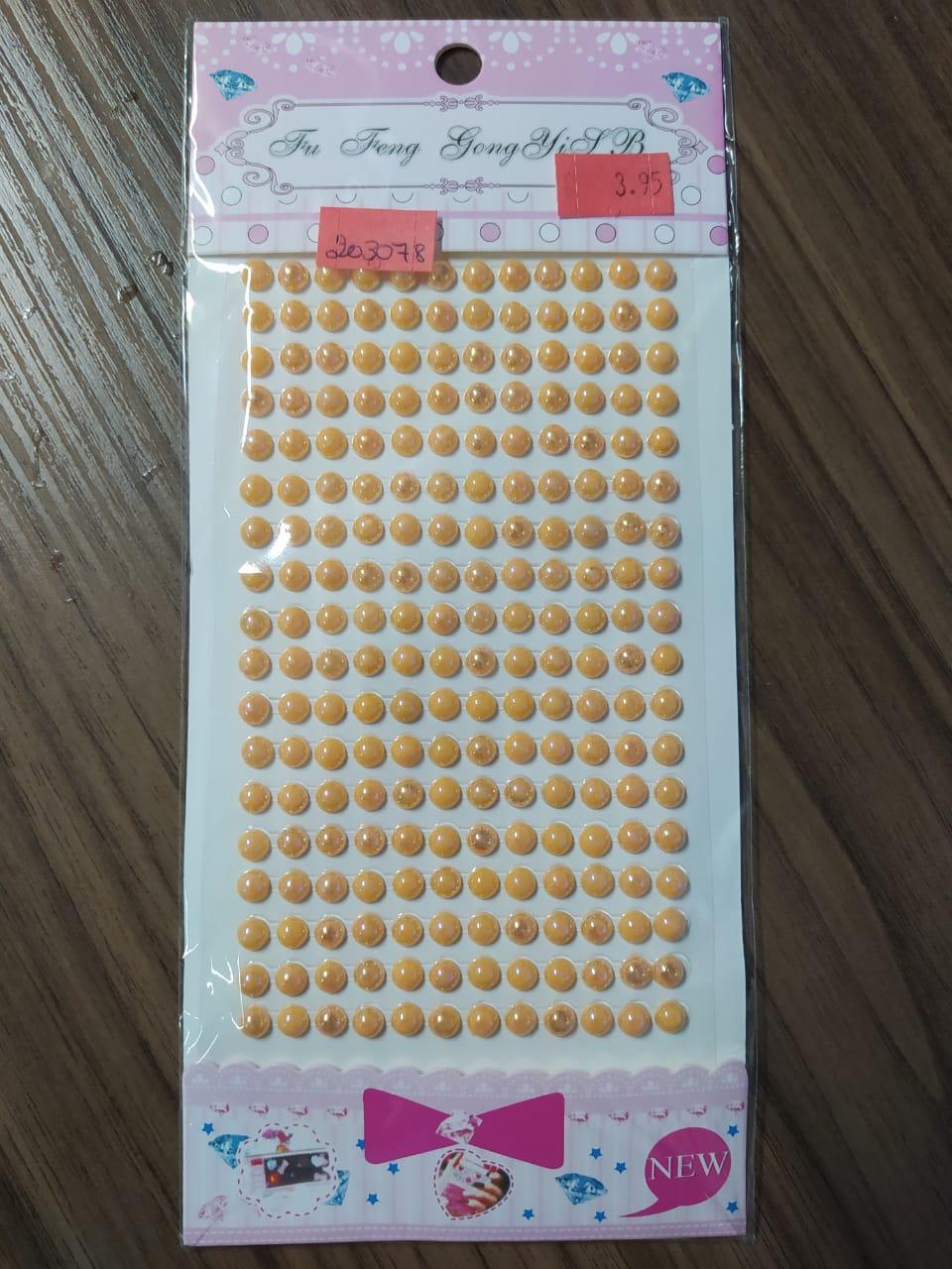 Adesivo Redondo Strass laranja 5mm - Cartelas Autocolantes 330 Peças