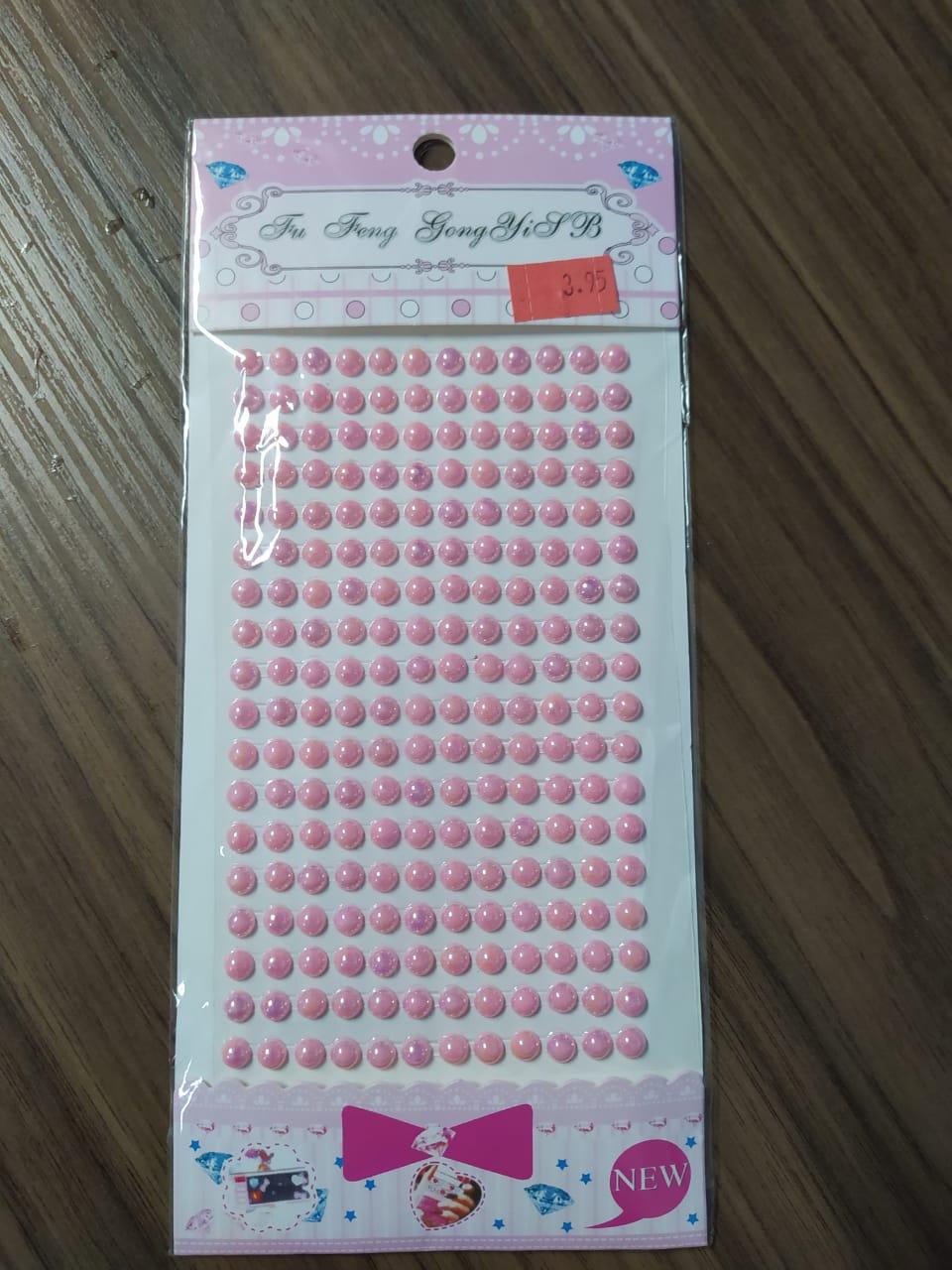 Adesivo Redondo Strass rosa 5mm - Cartelas Autocolantes 330 Peças