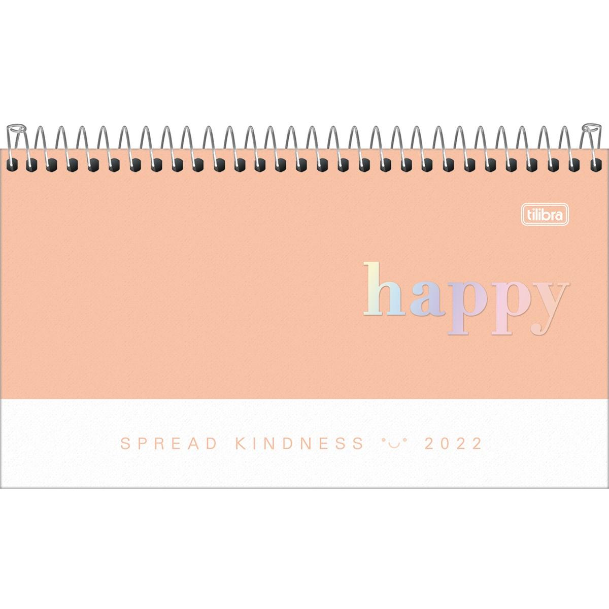 Agenda Espiral Semanal Happy 2022 - Coral