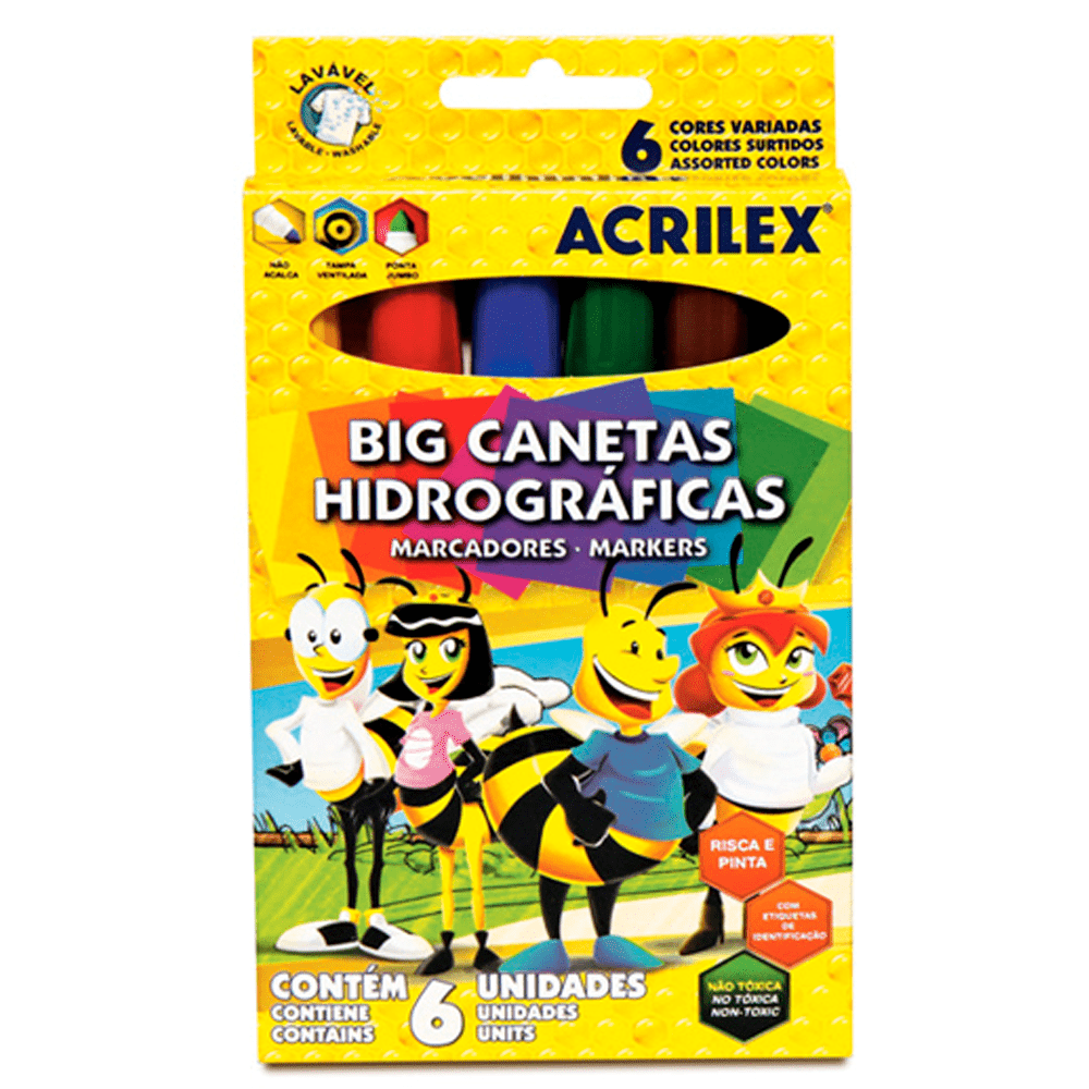 Big canetas hidrográficas c/6 - Acrilex
