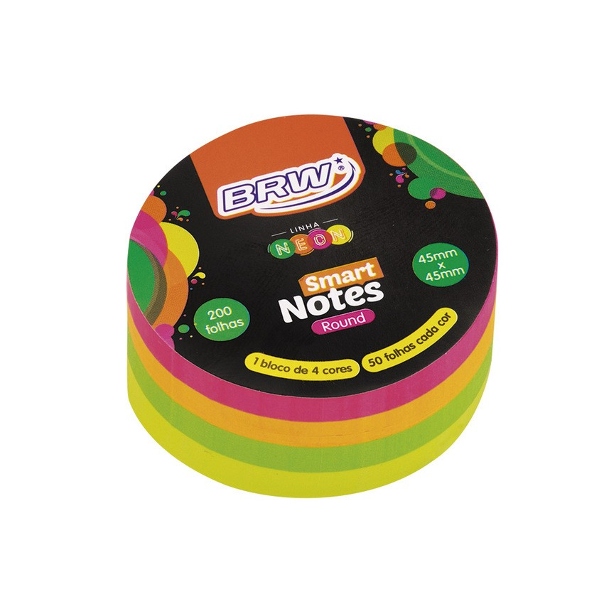 Bloco Adesivo Redondo 70x70 200 Fls 4 Cores Neon Brw