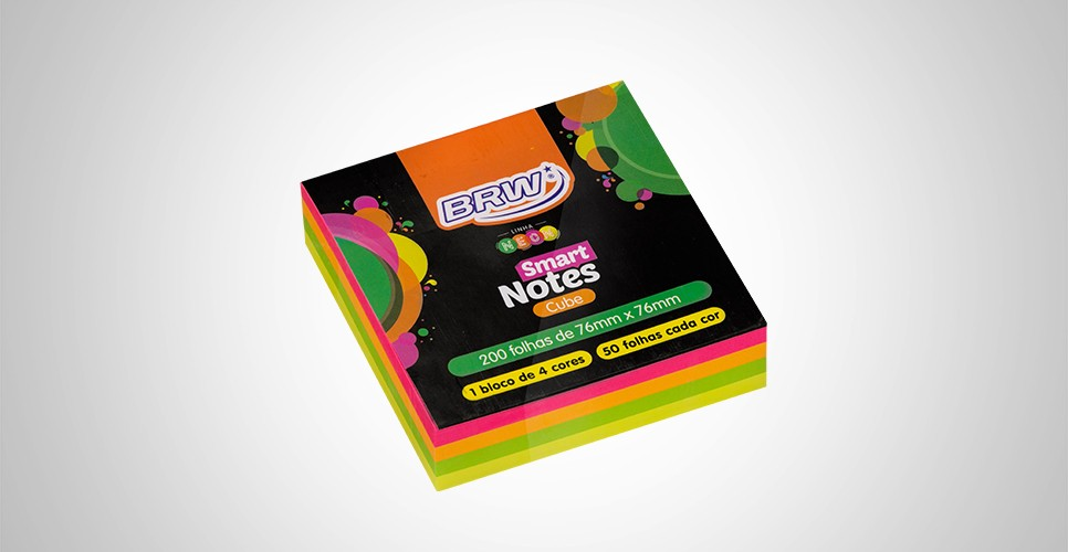 Bloco Adesivo Smart Notes Neon C/4 Cores Brw 200 Folhas