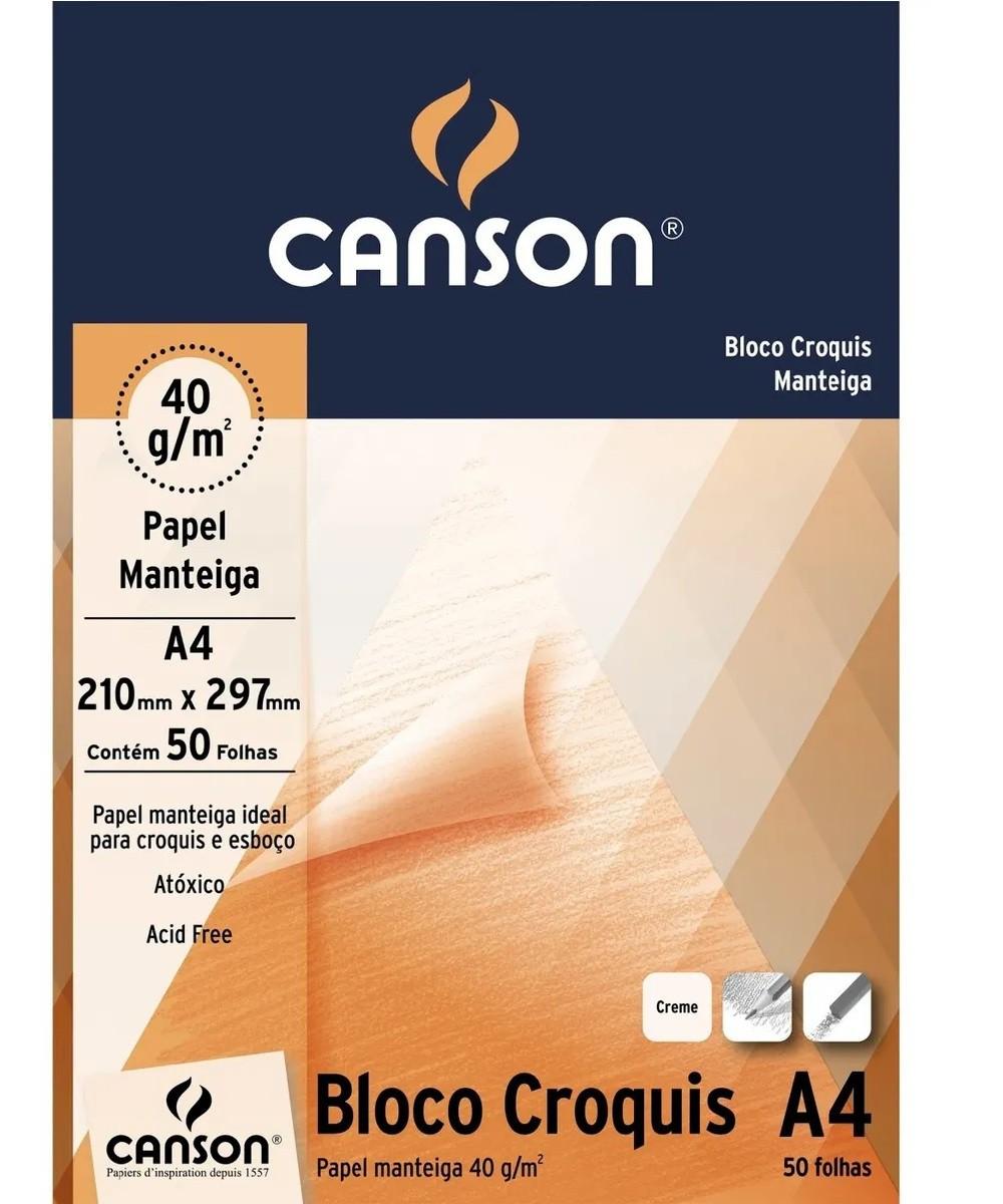 Bloco Croquis Manteiga A4 40g Creme Canson