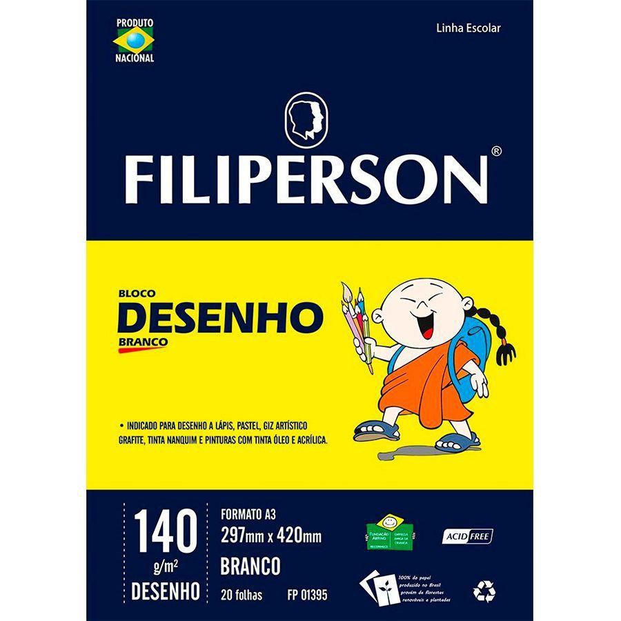 Bloco de Desenho Branco  A3 - FIliperson