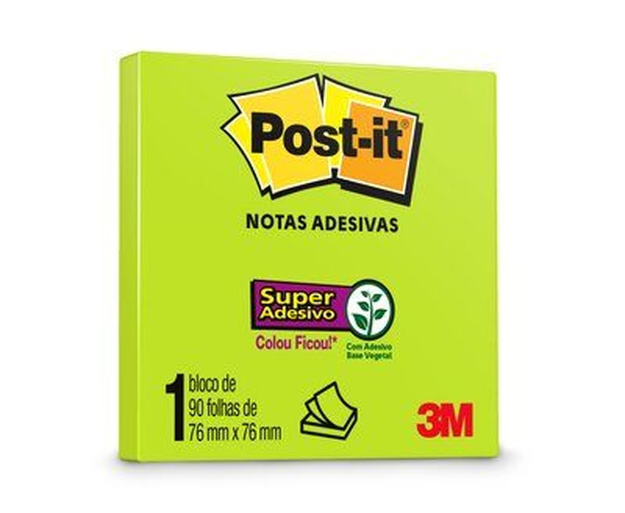 Bloco de Notas Super Adesivas Post-it® Verde Neon 76 mm x 76 mm - 90 folhas