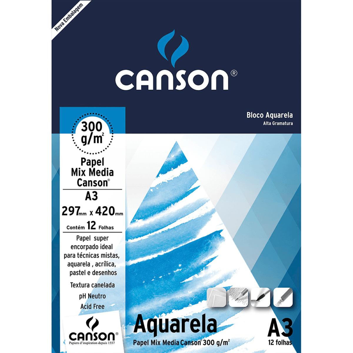 Bloco de Papel Aquarela A3 300g/m - Canson