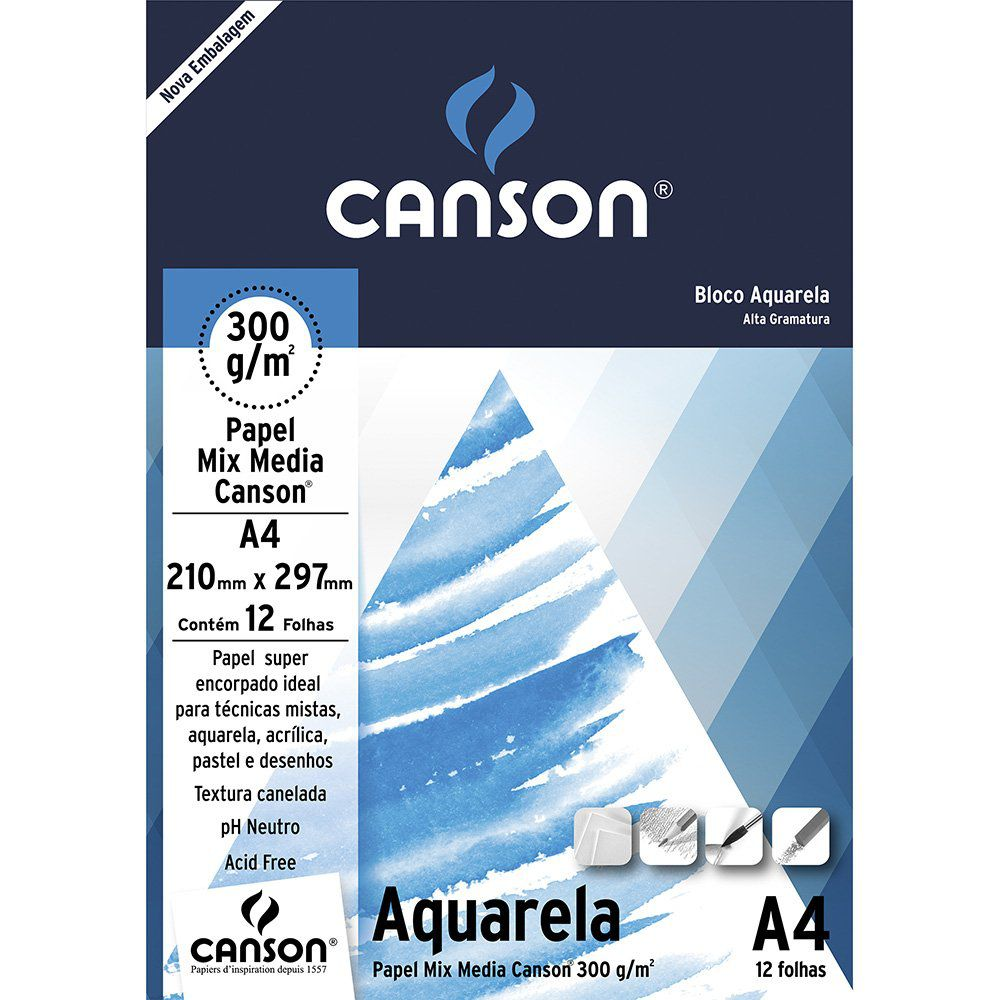 Bloco de Papel Aquarela A4 300g/m - Canson