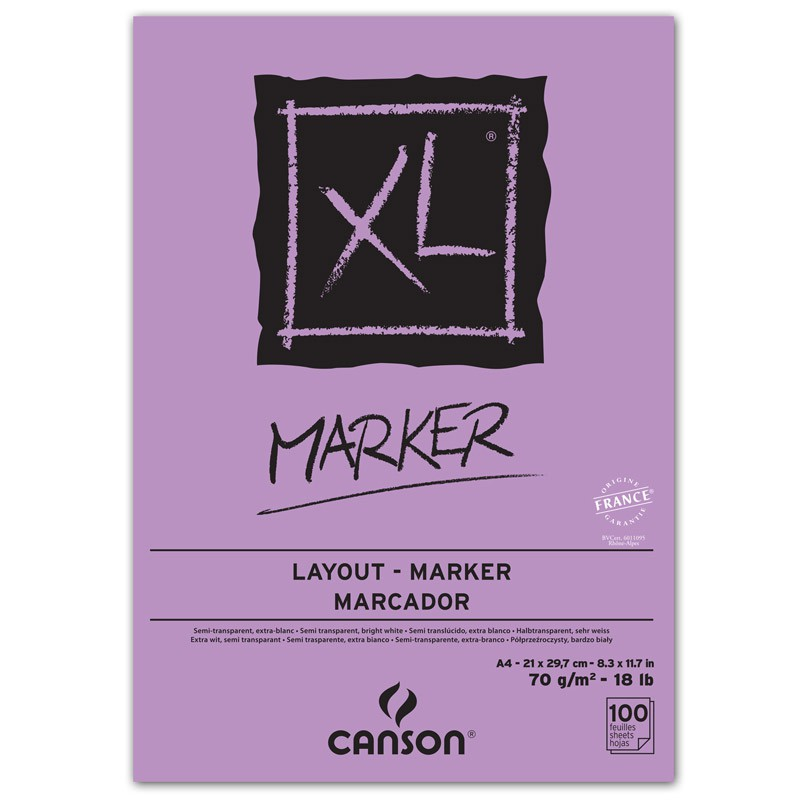 Bloco Desenho 70g 100 Folhas Branco Marker XL Canson