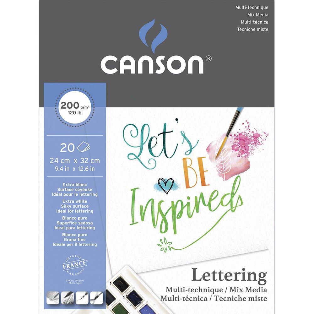Bloco Lettering 240x320mm branco 200g Canson BL 20 FL