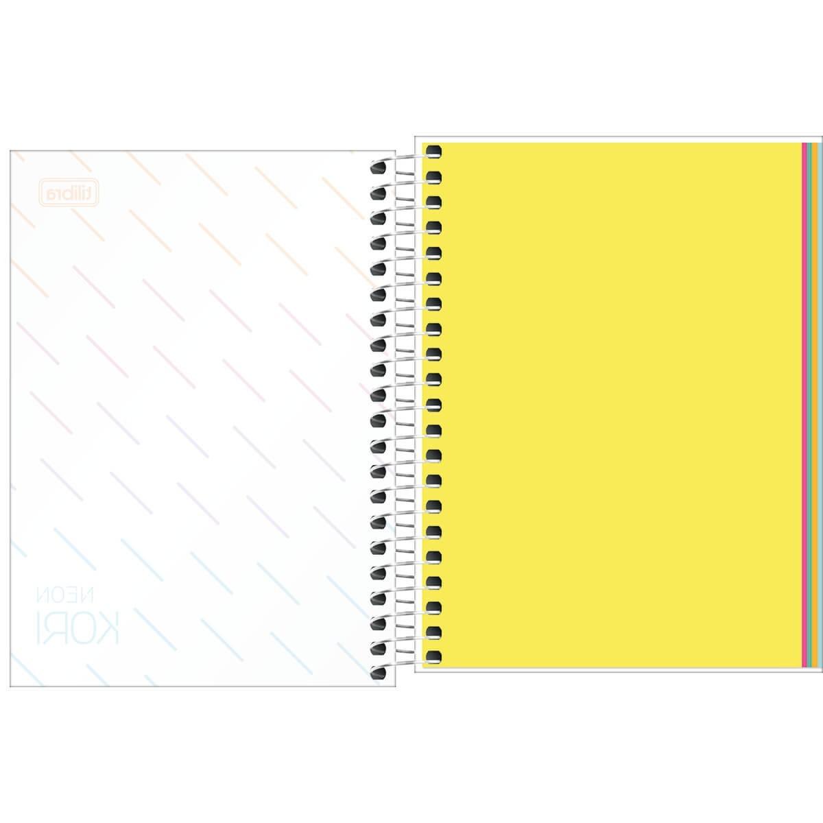 Caderneta Espiral Capa Plástica 1/8 sem Pauta Neon Kori 80 Folhas