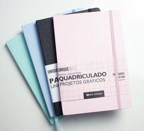 Caderneta Pontada 160 páginas  azul pastel