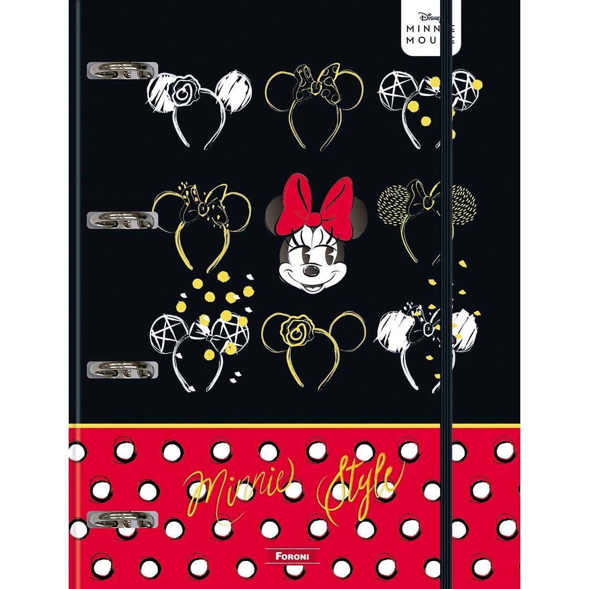 Caderno Argolado Cartonado C/ Elástico Minnie Mouse