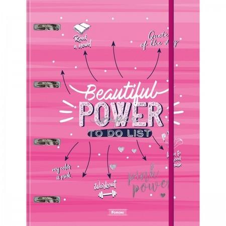 Caderno Argolado Cartonado C/ Elástico Pink Power