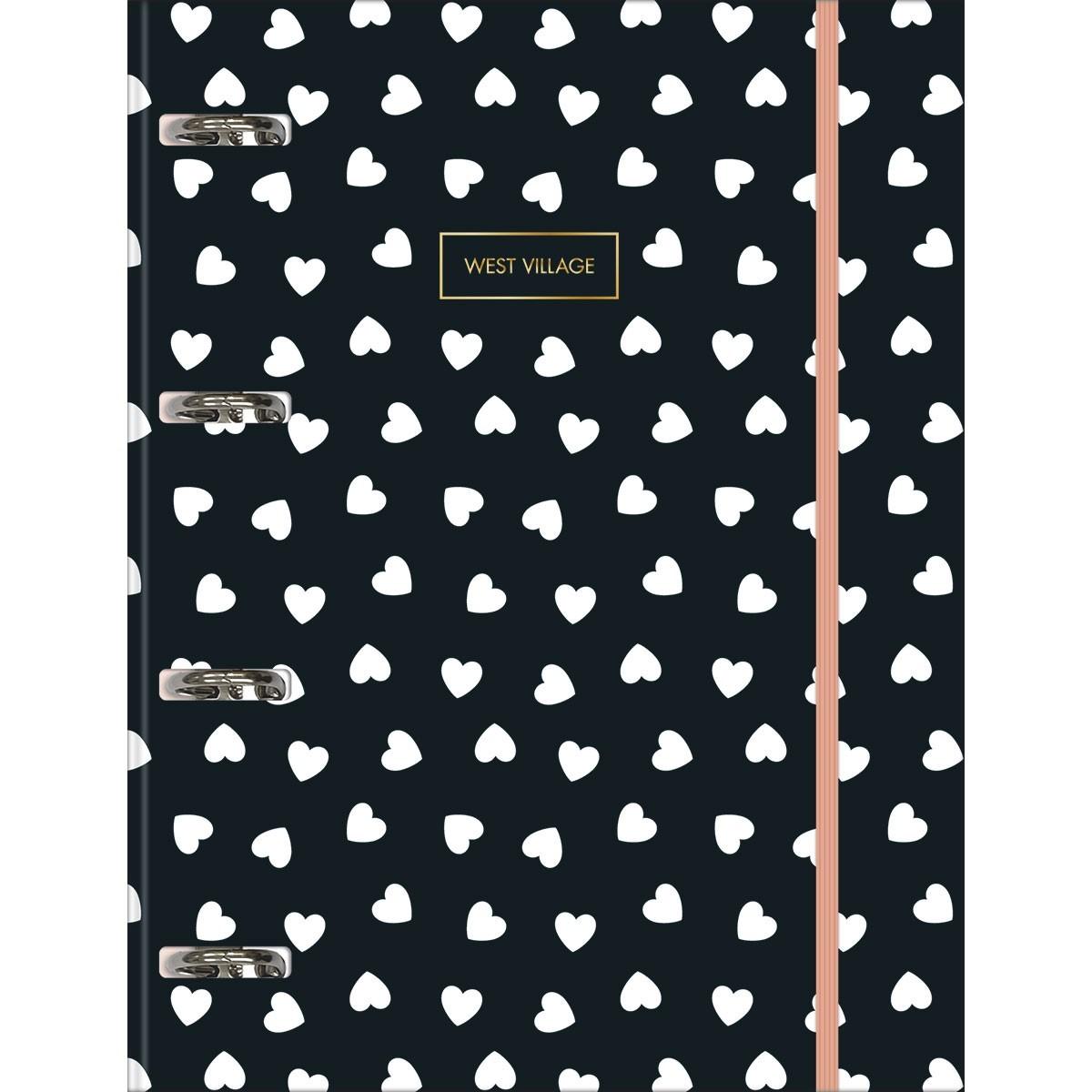 Caderno Argolado Cartonado Universitário com Elástico West Village 80 Folhas