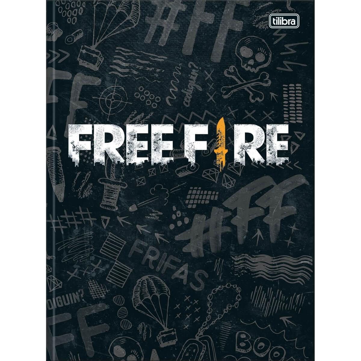 Caderno Brochura Capa Dura Universitário Free Fire 80 Folhas