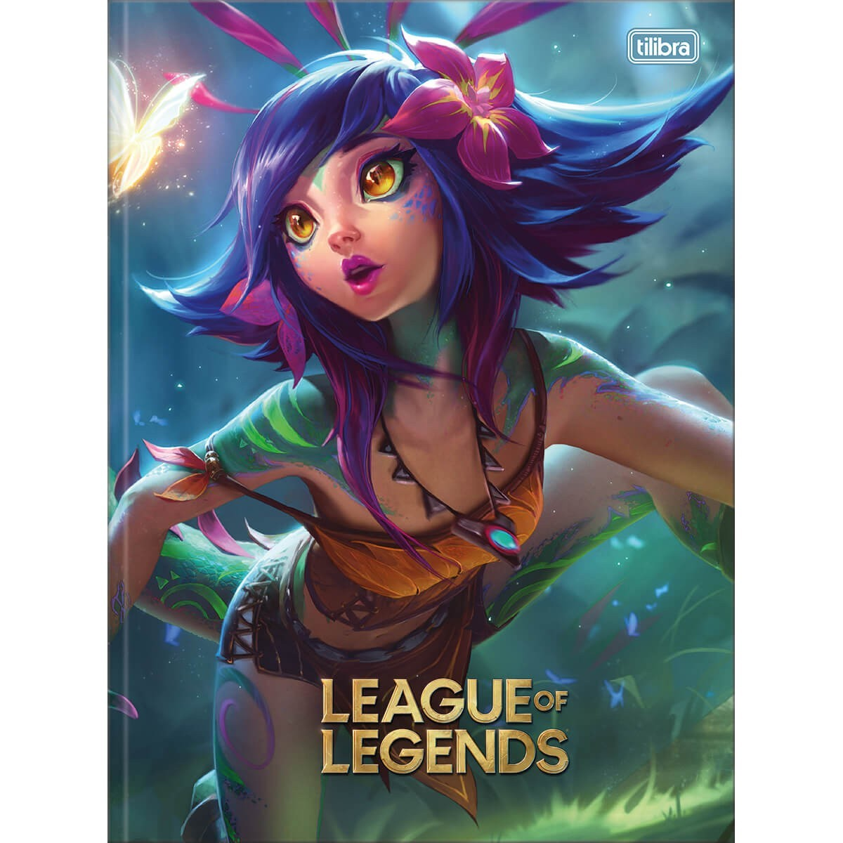Caderno Brochura Capa Dura Universitário League of Legends Nekko 80 Folhas