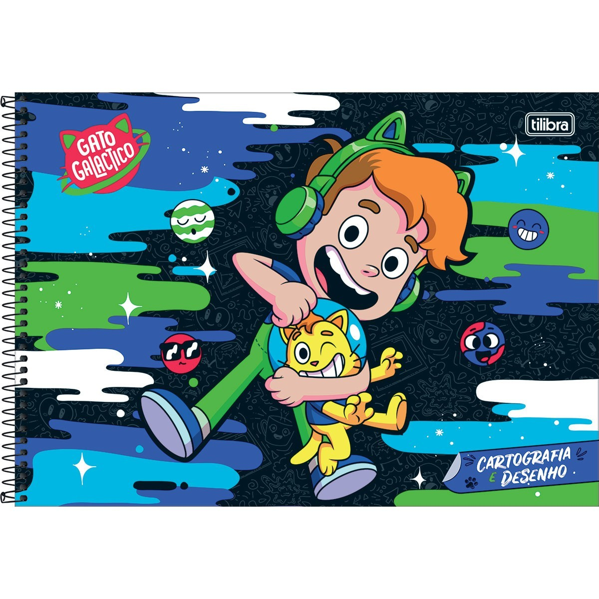 Caderno de Cartografia e Desenho Espiral Capa Dura Gato Galactico 80 Folhas