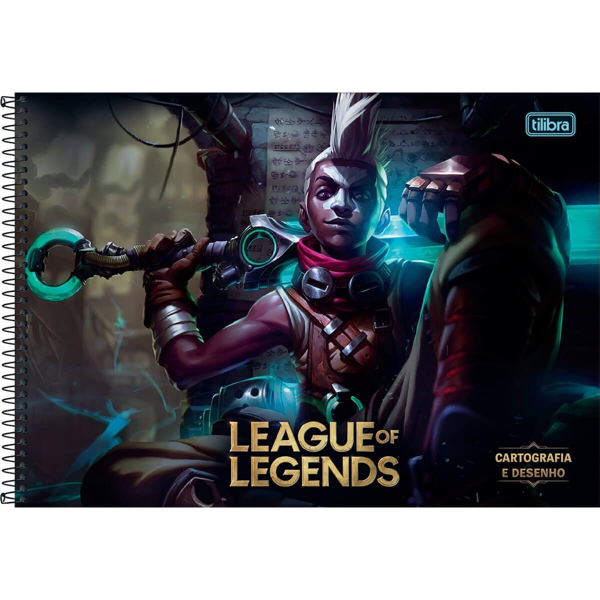 Caderno de Cartografia e Desenho Espiral Capa Dura League of Legends Ekko 80 Folhas