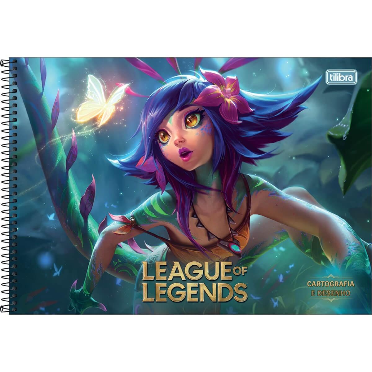 Caderno de Cartografia e Desenho Espiral Capa Dura League of Legends Nekko 80 Folhas