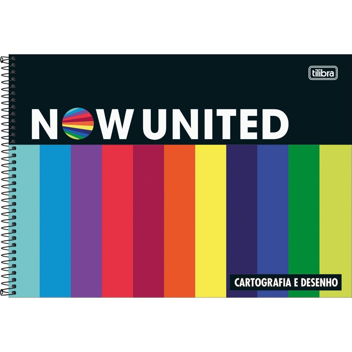 Caderno de Cartografia e Desenho Espiral Capa Dura Now United 80 Folhas