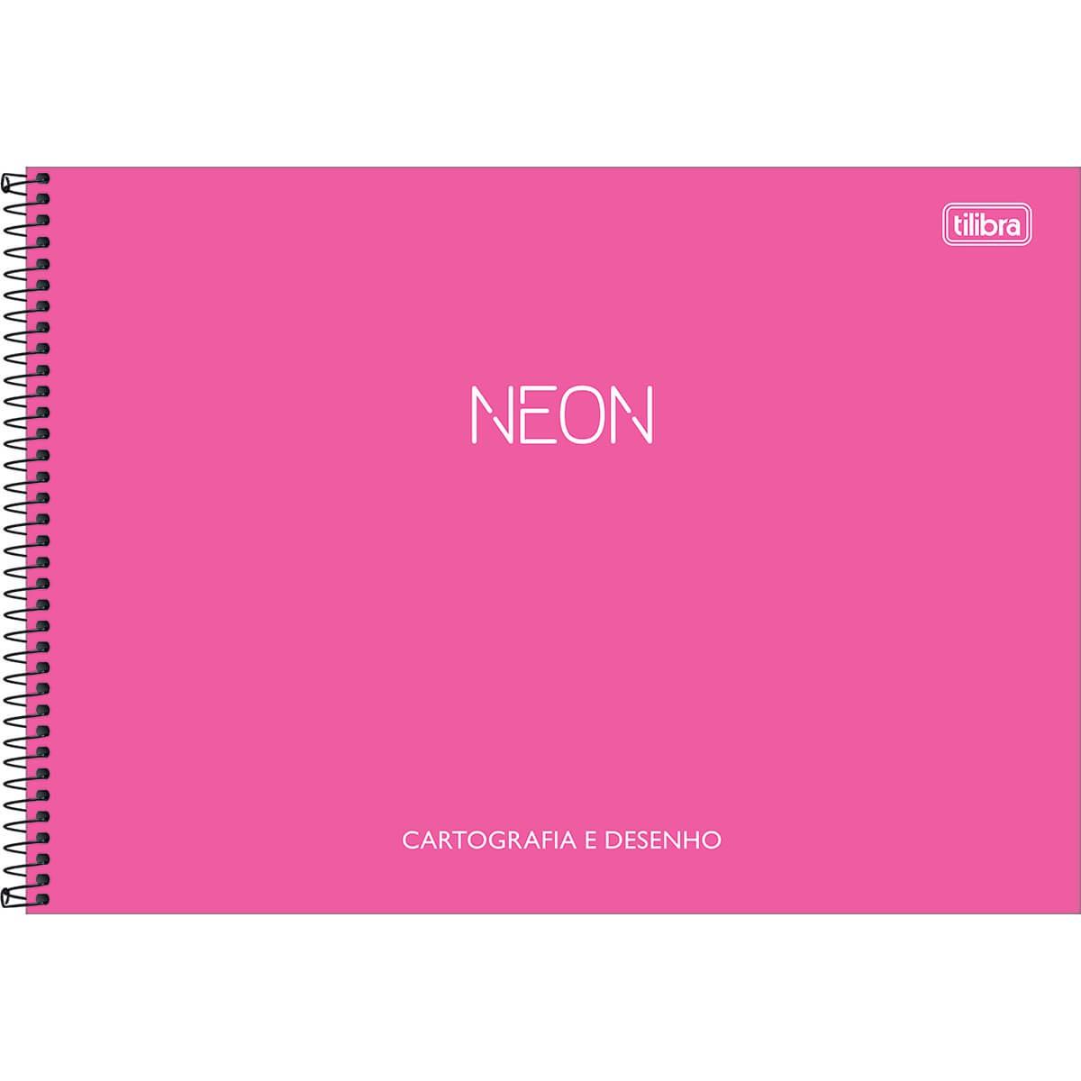 Caderno de Cartografia e Desenho Espiral Capa Plástica Neon  80 Folhas
