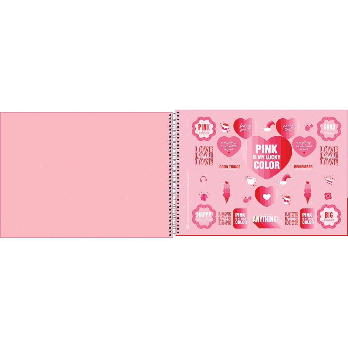 Caderno de Cartografia e Desenho Milimetrado Espiral Capa Dura Love Pink 80 Folhas
