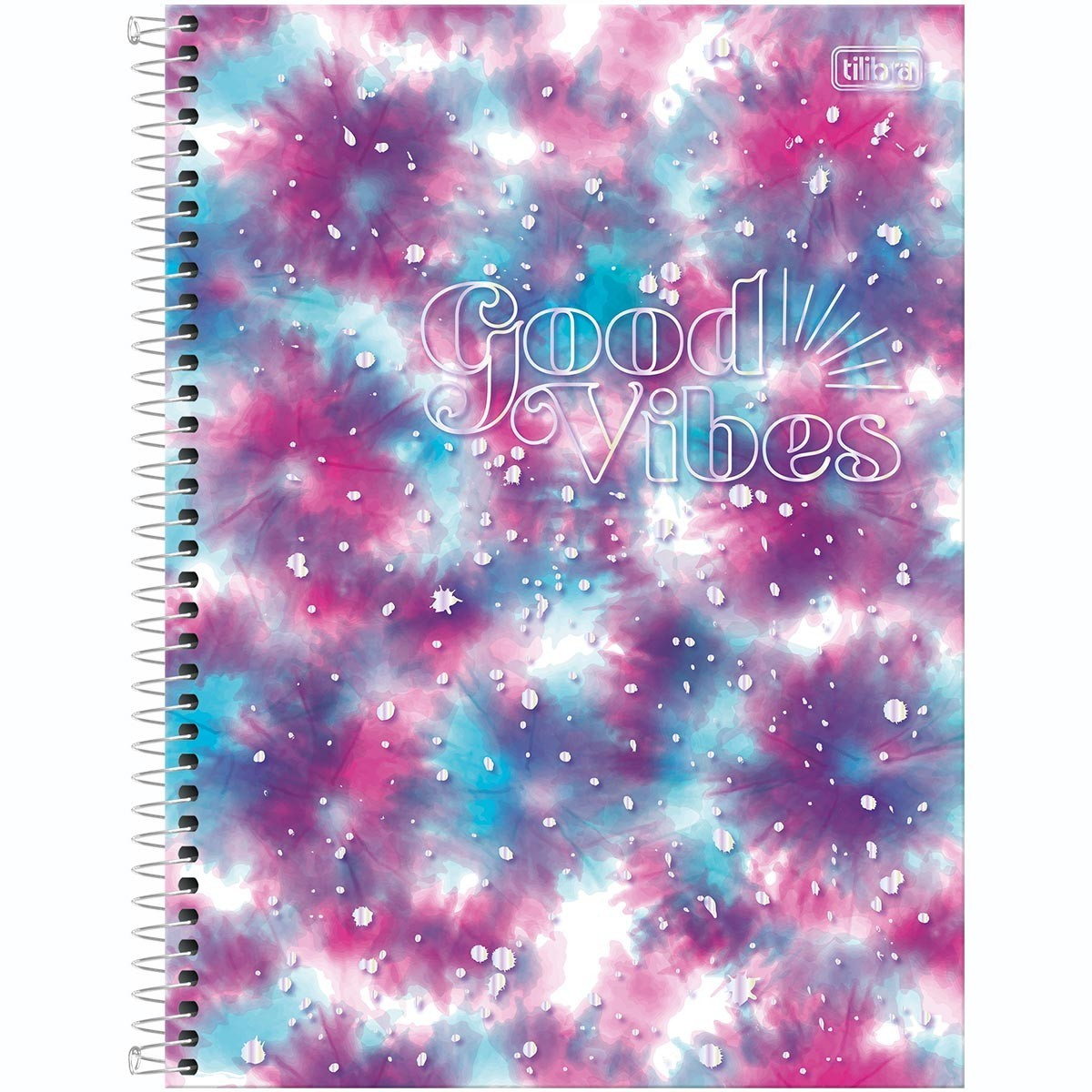 Caderno Espiral Capa Dura Colegial 10 Matérias Good Vibes 160 Folhas
