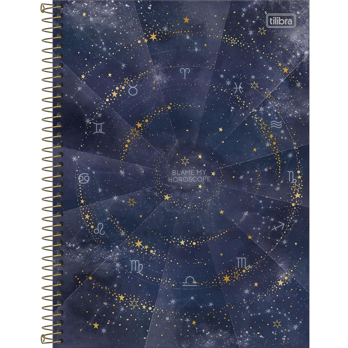 Caderno Espiral Capa Dura Colegial 10 Matérias Magic Blame 160 Folhas