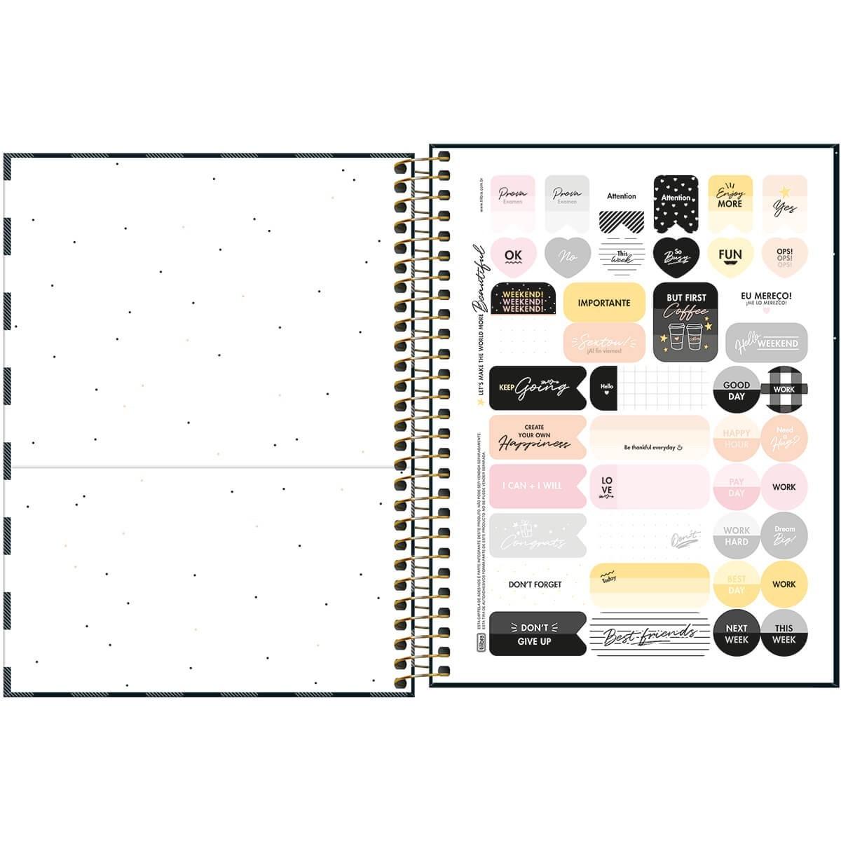 Caderno Espiral Capa Dura Colegial 10 Matérias Listrado West Village 160 Folhas