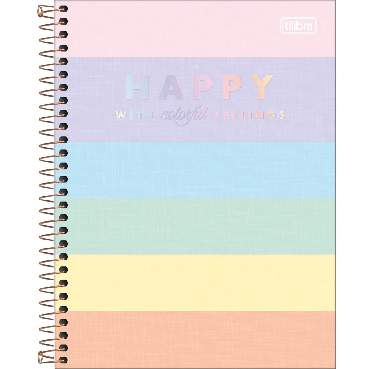 Caderno Espiral Capa Dura Colegial 1 Matéria Happy Colorido 80 Folhas