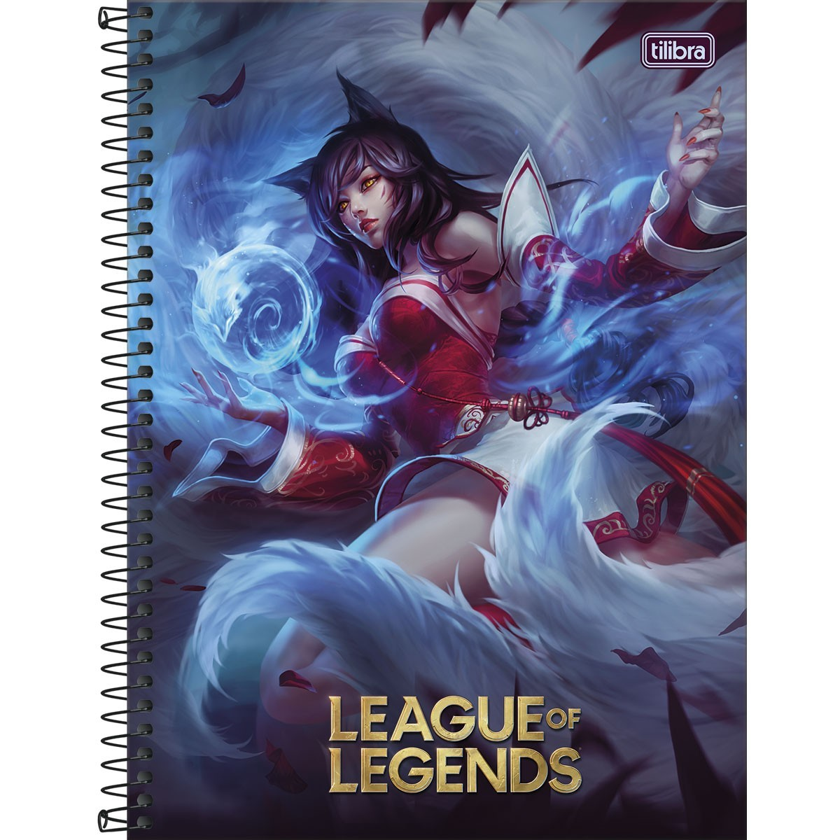 Caderno Espiral Capa Dura Universitário 10 Matérias League of Legends Ahri 160 Folhas