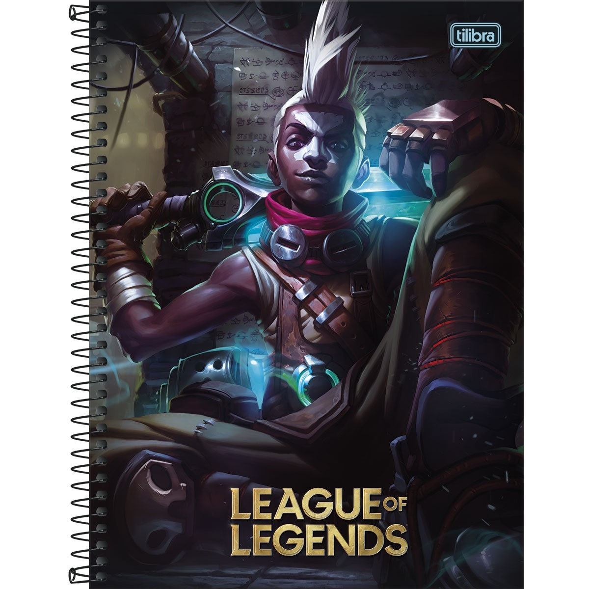 Caderno Espiral Capa Dura Universitário 10 Matérias League of Legends Ekko 160 Folhas