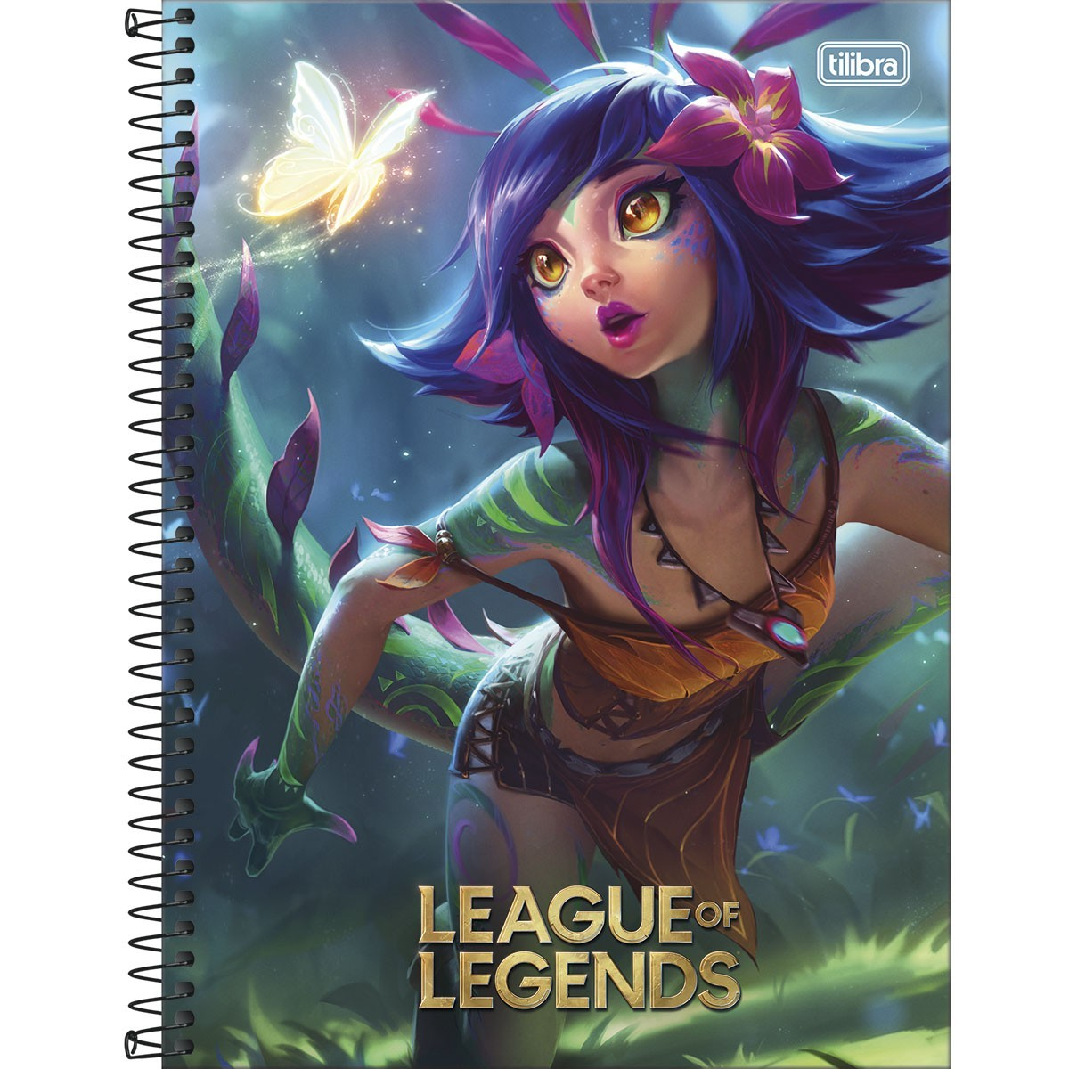 Caderno Espiral Capa Dura Universitário 10 Matérias League of Legends Nekko 160 Folhas