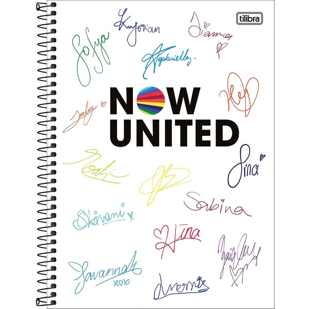 Caderno Espiral Capa Dura Universitário 10 Matérias Now United Branco 160 Folhas