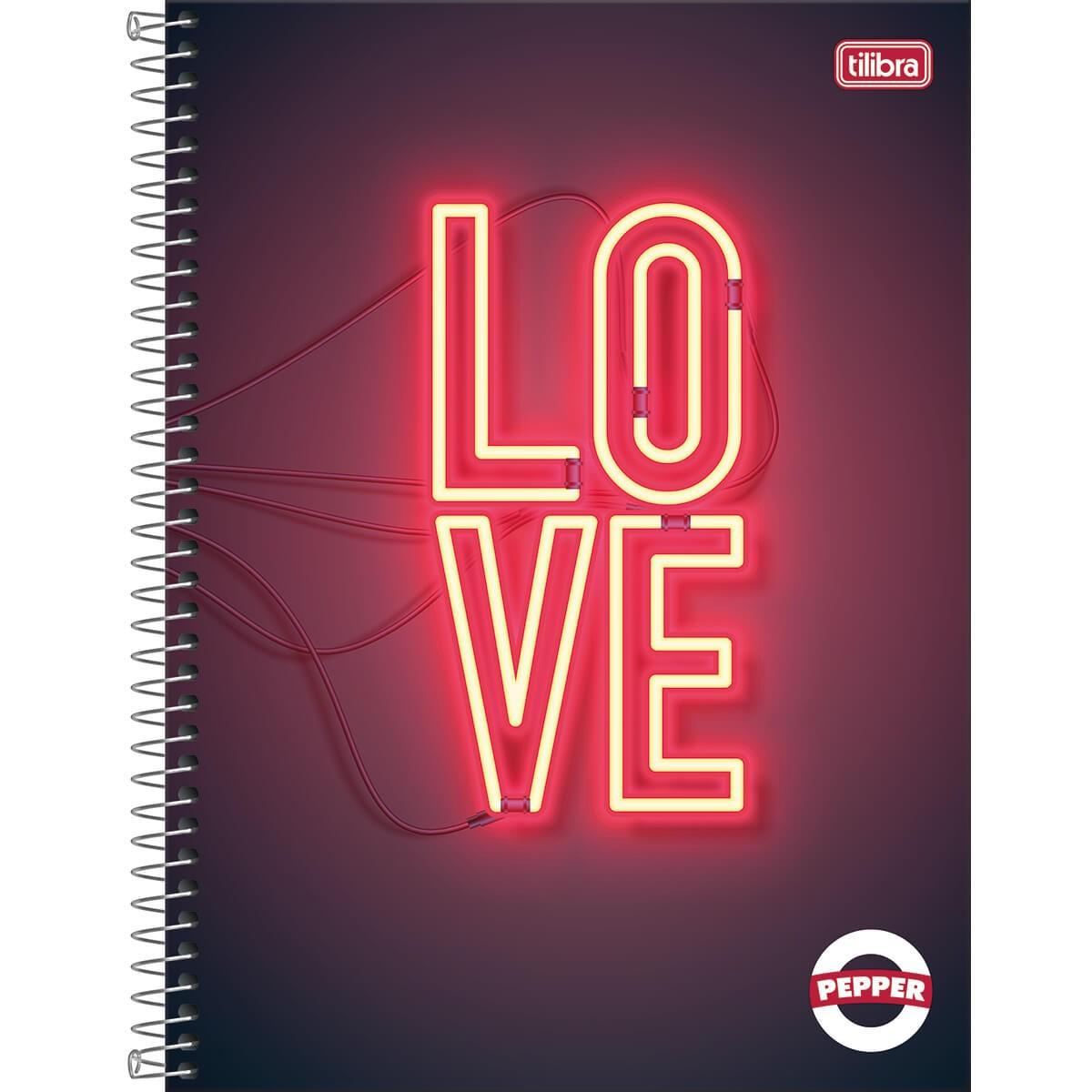 Caderno Espiral Capa Dura Universitário 10 Matérias Pepper Feminino 160 Folhas - Sortido